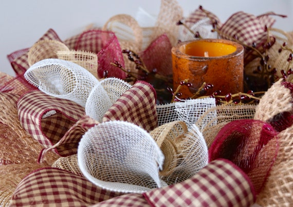 Burgundy Gingham Jute and Mesh Ruffle Centerpiece with Pip Berries and Candle; Coffee Dining Room Table Decor; Country Decor; Jute Wreath