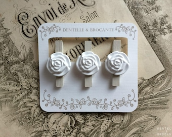 Set of 3 clothespins retro romantic: wood and flower