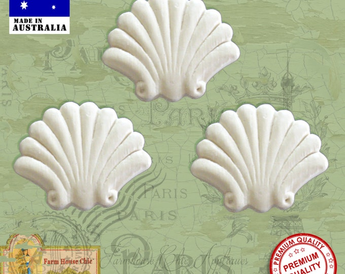 Shabby Chic French Provincial 3 x Shell Furniture Appliques Resin Mouldings. Furniture Applique, Decorations, DIY French Style Furniture