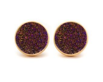 Oxblood Druzy Quartz Stud Earrings - Gold Drusy Quartz Studs - 24k Gold Vermeil Stud Earrings - Round 10mm