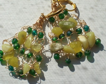 Green Beads and Yellow Stone ChipsKnitted Gold Wire Lever-Backed Earrings by hipknitta
