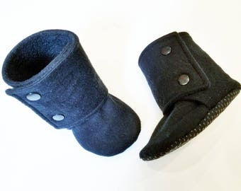Black Baby Booties, Baby Gifts, Black Stay-on Boots, Fabric Baby Boots, Baby Boots,  Baby Shower, Black Stay-on Booties, Black Baby Boots