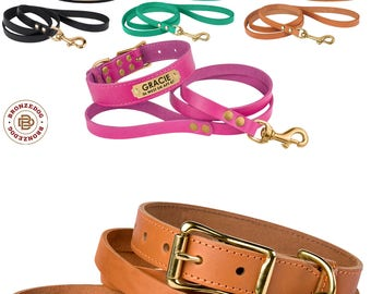 Classic Leather Dog Collar Leash Set Personalized ID Tag Custom Brass Hardware Black Brown Red