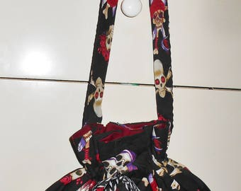 Pouch Purse with Balck and White Draw String Ribbon, Skull & Crossbones Fabric