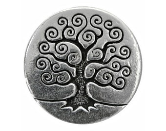 3 TierraCast Tree of Life 5/8 inch ( 16 mm ) Silver Plated Pewter Buttons