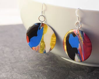 Abstract art earrings, round drop earrings, colourful earrings, abstract jewelry, dangle earrings, gift for her, vibrant earrings