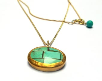 Turquoise Pendant - Gold Pendant - 24 K Gold Pendant - Gold necklaces - Free Shipping!!!