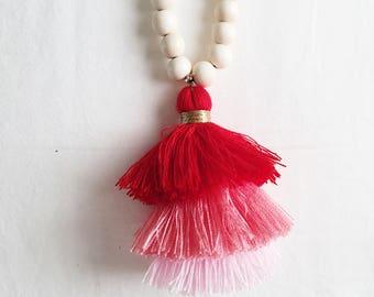 Pink Mutli Tassel Wood Bead Necklace