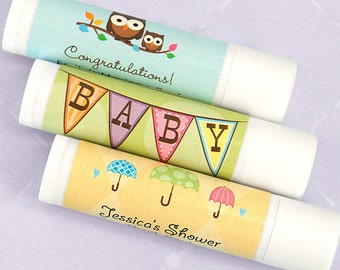 Baby Shower Favor Lip Balm, Personalized Baby Lip Balm, White Tube - Set of 12