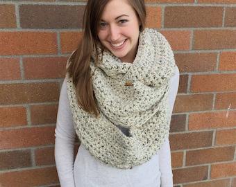 Extra Long Crochet Chunky Oatmeal Infinity Scarf