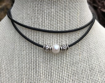 Real PEARL and SILVER BEAD Leather Choker; Double Leather Choker; Leather Pearl Choker; Leather Necklace; Beach Necklace; Western Choker