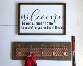 Hockey sign -FREE SHIPPING- hockey welcome sign-hockey mom- hockey gift- unique welcome sign-hockey dad-wood sign-funny hockey