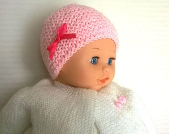Wool baby girl Pink Hat with ribbon bow light baby pink satin size 0/1