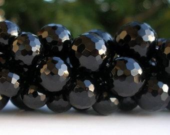 Black Onyx 16 Mm Round Disco Faceted Cut Gemstone Beads  Full Strand