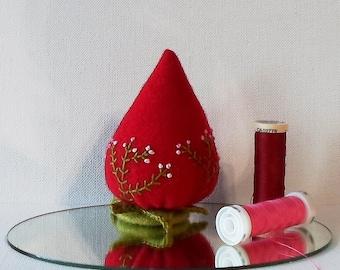 Handmade Strawberry Pincushion Felted Wool Red & Pink Pincushion