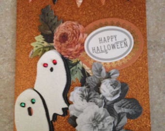 Halloween Card/Handmade Card/Floral/3D/Features A Happy Halloween Greeting with Surrounding Flowers and Ghosts