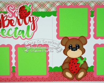 Scrapbook Page Kit So Berry Special Strawberry Bear Girl 2 page Scrapbook Layout Kit 091