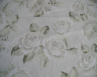 Rachel Ashwell Shabby Chic  Silver Rose sage Floral white Poplin Fabric by the yard Cabbage hints of yellow Roses