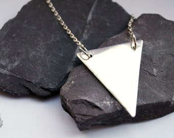 Large Triangle Sterling Silver Necklace ~ modern, geometric, triangle, pendant
