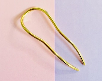 Small Gold Hair pin, brass hair pin, solid brass hair pick, hair fork, bun holder, gift for her, gold hair fork
