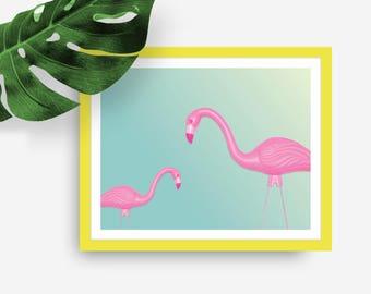 Vintage Plastic Flamingo Print, Digital wall art, Digital flamingo art download, Colorful flamingo art, Fun print, Instant download