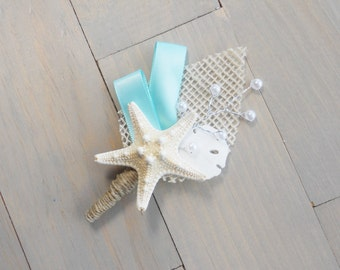 Aqua Beach Boutonniere, Starfish Boutonniere, Beach Wedding