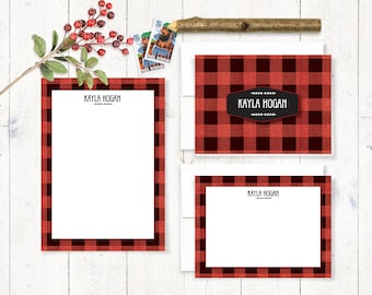 Personalized Stationery Set - notepad and note card stationary set - buffalo check - custom stationery - BUFFALO PLAID