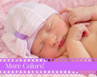 Newborn Hat For baby Girls Newborn Hat with bow Newborn Baby Girl Hat baby hat hospital baby hat pink striped hat pink newborn hat baby