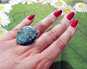 Adjustable ring 925silver Séraphinite 30 * 26mm, Angels stones