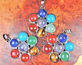 Reiki Necklace - 7 Gemstone Chakra Flower Pendant - Crystal Rainbow Daisy Charm - Silver Earrings (L42) Healing Crystals and Stones Jewelry