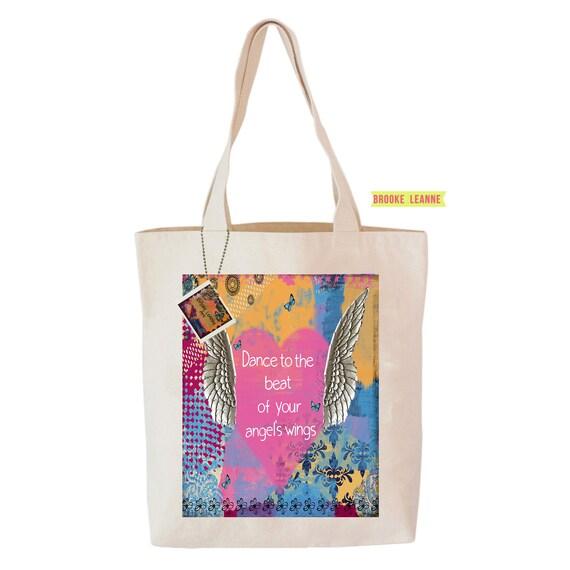 Angel Wing Tote Bag, Reusable Shopper Bag, Farmers Market Bag, Cotton Tote, Shopping Bag, Eco Tote Bag, Reusable Grocery Bag, Printed in USA