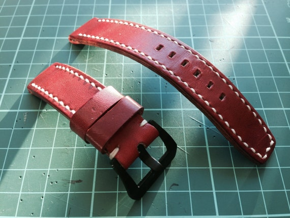 Handmade genuine Leather Rolex Strap, Red Orange leather watch band, Cream white stitching and Black 20mm buckle watch strap for 20mm lug