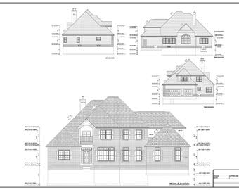 Full set of Two Story 4-bedroom building plans 3,181 sq ft