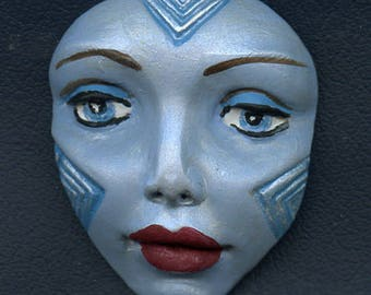 Polymer Clay Large Pale Blue and Pearl   Detailed Tribal Face  Un Drilled AFLG 1
