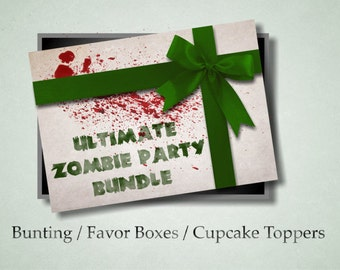 Zombie Downloadable Party Bundle with Bunting, Favor Box and Cupcake Toppers (Download)