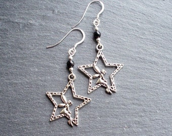 Star & Fairy charm earrings with black agate beads - Sterling Silver hooks - Spirit Of Colour Jewellery