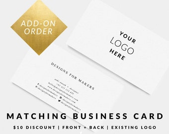 Business cards etsy matching business card for premade logo design business card design card template premade business cards modern minimal typography reheart Images