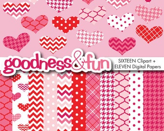 Buy 2, Get 1 FREE - Simply Valentine Clipart / Digital Paper Pack -  Digital Valentine's Day Clipart & Digital Paper Pack - Instant Download