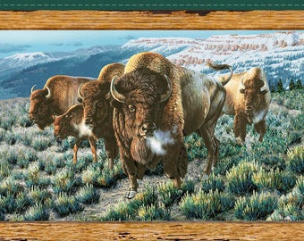 """Where the Buffalo Roam, Bison Panel, Quilting Treasures. 23"""" x 44"""" Free Shipping"""