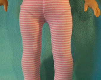 American Made 18 inch Doll Pink/White Stripe Leggings