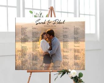 Photo wedding seating chart, printable personalized photo wedding seating chart, table assignment DIGITAL, wedding photo seating plan