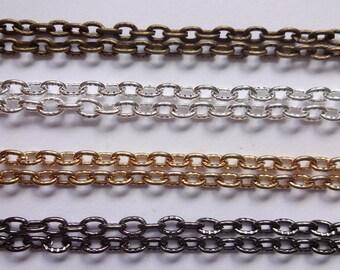 2 10 / 100 / 200 Meter schön gemusterten / gehämmert Nickel frei stark Oval Link Kabel Kette 4mmx3m 3 Farben Silber Gold Messing