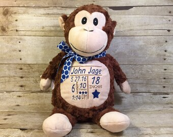 Personalized Cubbie Brown Monkey Cubbie Baby Embroidered Cubbies Stuffed Animal Personalized Stuffed Animal Baptism Gift Birth Announcement