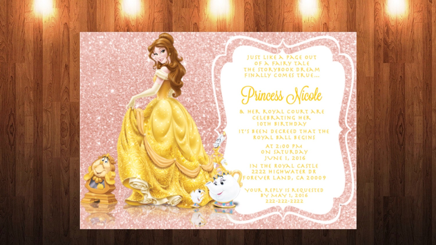 Belle With Mrs Potts And Shimmer Glitter Pink Background