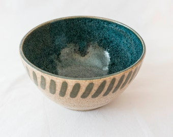 Small Decorative Bowl - turquoise, green, speckled clay