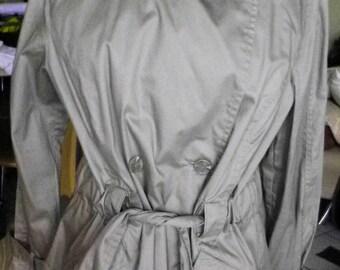 Parka, french vintage khaki beige, belted coat, size 42 L