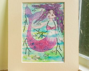 Amatheia, original watercolour painting, 8 x 10 mounted, mermaid art.