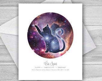 Cosmic Cat Spirit Greeting Card ~ cat card ~ cat totem ~ original artwork greeting card ~ astronomy ~ space ~ galaxy ~ nebula