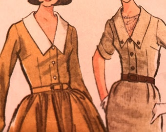 Vintage 1960's Shirtwaist Dress With Full or Slim Skirt and Collar Detail---McCalls 7603---Size 10-12  Bust 31-32