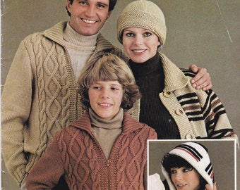 Paton's Winter in Jet, Family Knitting Pattern Book No 557  Vintage 1970s Jackets, Cardigans, Sweaters, Jumpers